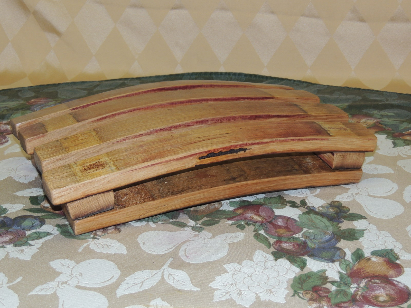 Wine Barrel Stave Foot Rest Oil Finish