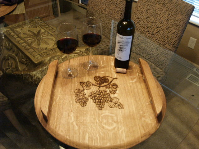 GRAPES: Laser Engraved Stave Handle Serving Trays