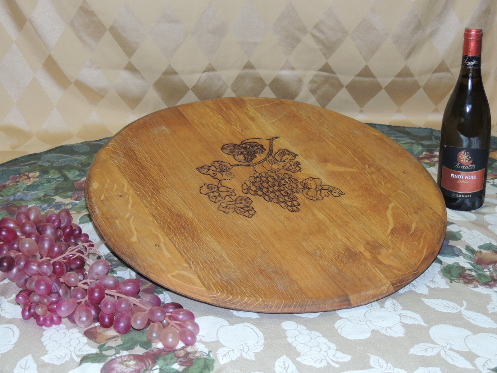 GRAPES: Laser Engraved Barrel Lazy Susan Oil Finished