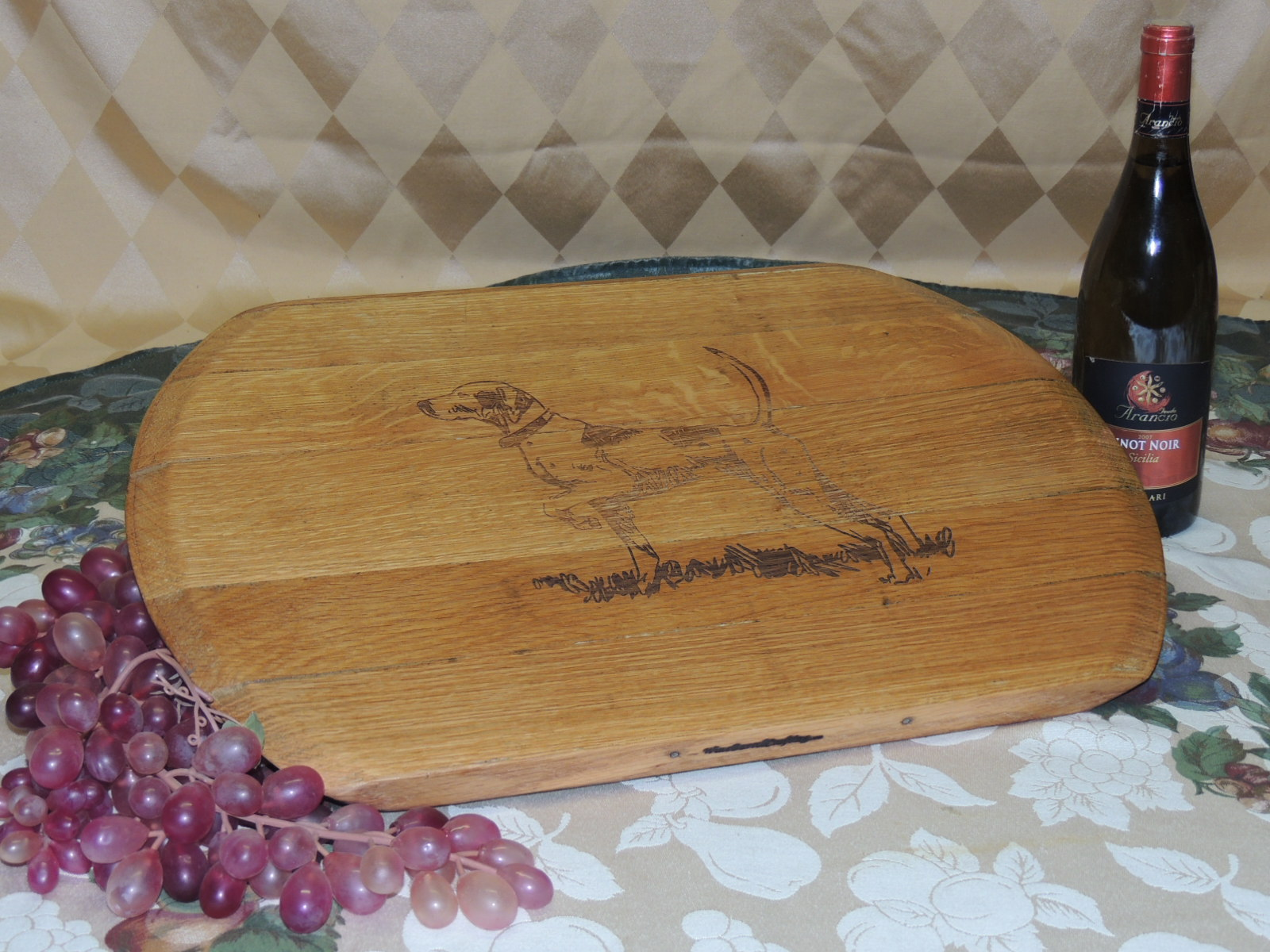 DOG: Lasered Oval Serving Tray Oil Finish